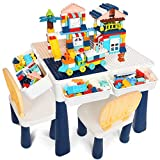 idoot 7 in 1 Multi Kids Activity Table Set with 2 Chairs and 158 Pcs Large Size Blocks Compatible with Classic Blocks.Water Table,Sand Table and Blocks Table for Toddlers Activity