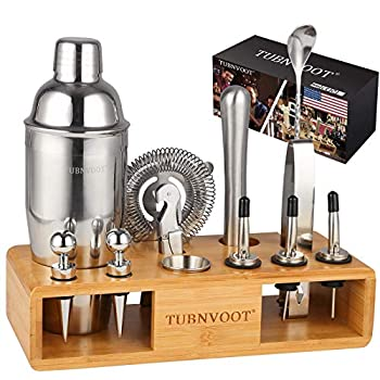 Father s Day Gift - Bartender Kit Cocktail Shaker Set - 13 Piece Stainless Steel Bar Tools For Home - Bartending Mixing Kit With Stand and Recipe Book