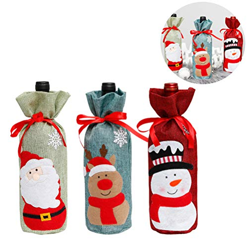Weihnachtliche Weinflaschen-Abdeckung, Schneemann-Flaschenbeutel, Weihnachtsdekoration, 3-teiliges Set