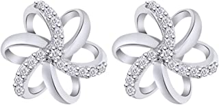 Natural Diamond Accent Spiral Flower Stud Earrings in Sterling Silver For Women (1/10 cttw, I-J Color, I2-I3 Clarity)