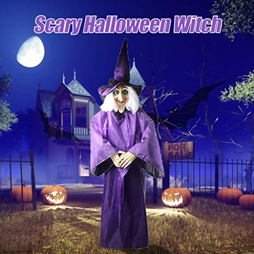Buy Bargain Inverlee Scary Halloween Witch, Halloween Decor Animated Purple Witch Hanging House Prop...