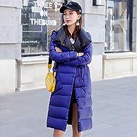 guomao 女性両面ダウンロングジャケット冬90%ホワイトダックダウンコートダブルブレストウォームパーカススノーアウトウェア