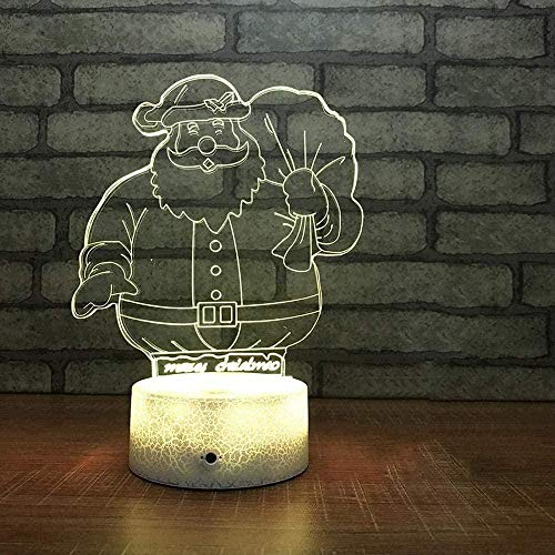 Santa Claus Children's Night Light 3D Night Light 7 Color-Changing Touch Remote Control Table Light Suitable for Home Decoration Christmas Day Birthday Personalized Gift
