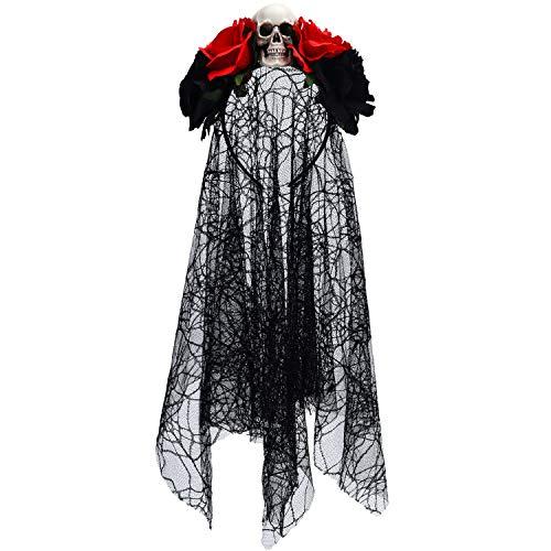 Blulu Halloween Veil Headband Rose Flower Headband Day of The Dead Floral Crown Costume (Style 1)
