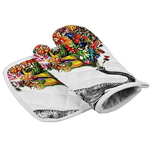 Soloatman Olifant Keuken Oven Wanten en Pot Houders Hittebestendige Handschoenen voor BBQ, Voedsel, Grillen, Frituren