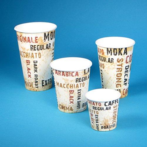 1000 Latte to go Becher, Coffee to go Becher, Coffeecups, Kaffeebecher für Latte Macchiato 16oz / 400ml / 0,4l, Ø90mm, Hartpapier+PE Beschichtung, edles Neutralmotiv