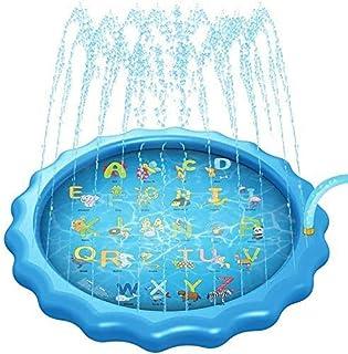 Splash Pad Piscina para Niños Tapete de Juegos de Agua 170CM Aspersor de Juego Aspersor Juego de Salpicaduras y Salpicaduras Colchoneta de los Chorros de Agua Juguetes al Aire Libre para Jardín