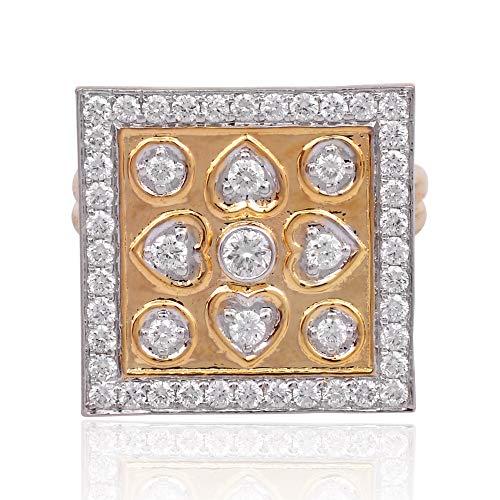Spectrum Jewels Natural 1,30 quilates cuadrado diamante cuadrado anillo cuadrado sólido 18k oro rosa joyería para niñas y mujeres