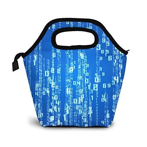 Programador binario código informático digital pequeñas bolsas de almuerzo para mujeres niños impermeable aislado almuerzo caja para trabajo escuela