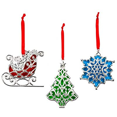 Lenox Sparkle and Scroll Ornaments [Silver-Plated]