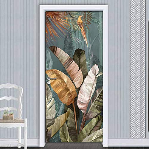 ZuanYi Multifunktions PVC wasserdichte Selbstklebende Türaufkleber Wanddekoration Bananenblatt 3D Fototapete Multifunktionale Tapete Wohnzimmer Schlafzimmer Dekoration Wandaufkleber Einfach und schön