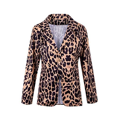 Auifor vrouwen casual lange mouwen luipaarddrukknoop gekerfde zit-kantoor-mantel bovenkant