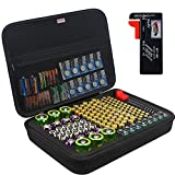 BOVKE Battery Storage Organizer with Battery Tester, Battery Storage Case Box for AA AAA C D 9V 3V Lithium Batteries, Extra Mesh Pouch for Button Cell Batteries and Other Accessories, Black