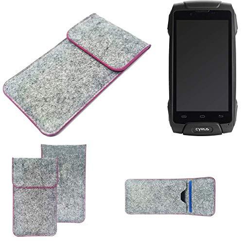 K-S-Trade Handy Schutz Hülle Für Cyrus CS 30 Schutzhülle Handyhülle Filztasche Pouch Tasche Hülle Sleeve Filzhülle Hellgrau Pinker Rand