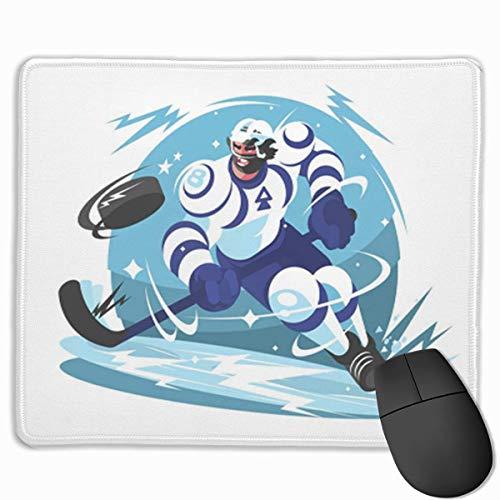 Niedliches Gaming-Mauspad, Schreibtisch-Mauspad, kleine Mauspads für Laptop-Computer, Mausmatten-Action-Eishockey-Team-Spieler mit Stock und Puck-Vektor