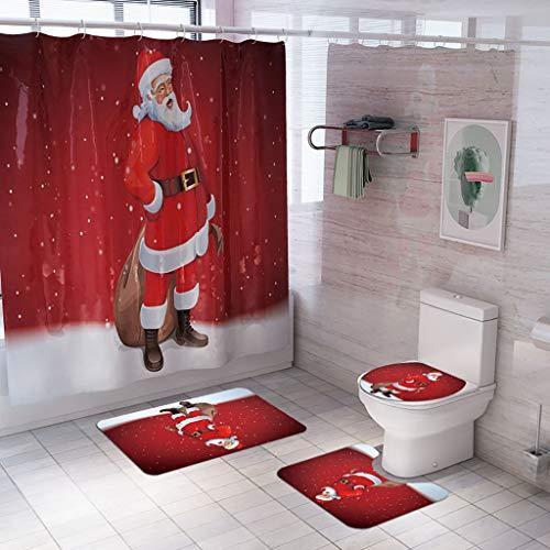 ZFUMIZX Juego de 4 accesorios navideños para el baño, con cortina de regadera de tela impermeable,…