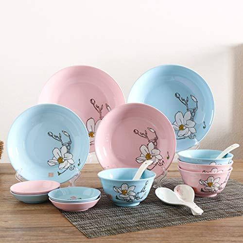 FDPVJSS Vajilla de cerámica, Cuencos, platillos, cucharas, Platos de vinagre, Traje de 16 Piezas, para hornos de microondas, Azul y Rosa