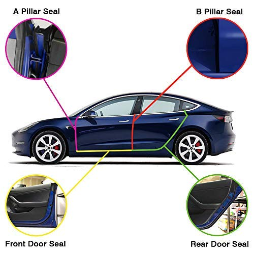 Auto Rover Tesla Model 3 Wind Noise Reduction Seal Door Seal Kit Soundproof Rubber Weather Draft Seal Strip