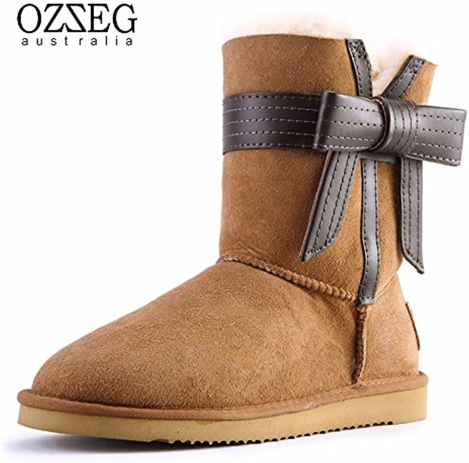 YJNB Winter snow boots shoes plus one tube bow leather shoes women