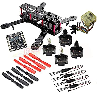 Hobbypower Unassembled DIY 250 Mini 250mm Quadcopter Frame Kit T2204 2300KV Motor +BLHeli 12A ESC + CC3D FC Flight Controller +5045 Props Propeller