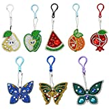 5D Special Shaped Diamond Painting Keychain Kits for Kids and Adult, Stick Paint with Diamonds by Numbers Easy to Keychain Pendant Kits for Art Craft(Butterfluy,Fruits)