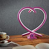 LED Herz-Tischleuchte Valor in pink   Süße Tischlampe mit Touch Sensor, Herzform, Aluminium   Dimmbare Schlafzimmerleuchte, Wohnzimmer, TV-Wand, Dekoherz, Shabby   Love, heart-shape XOXO   12 W - 2