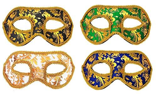 Fontee® 4 stuks Venetiaans masker, Halloween Carnaval feestmasker, Maskerade masker voor mannen en vrouwen, zwart, blauw, wit, groen