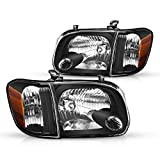 Torchbeam Replacement Headlight Assembly for 05-06 Tundra / 05-07 Sequoia Black Housing Amber Reflector Clear Lens Driver & Passenger Side