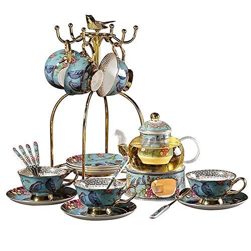 Estilo Pastoral Inglés Tarde de té de cerámica Cristal de la Flor del Juego de té Vela Calefacción Tetera con Filtro