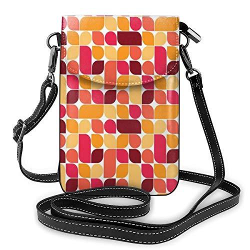 Women Small Cell Phone Purse Crossbody,Bauhaus Style Inspired Geometric Asymmetric Retro Pattern With Pastel Colors Print