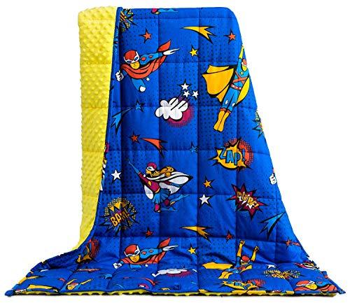 BUZIO Couverture lestée 1,3 kg pour enfants, ultra confortable Minky à pois et côtés en coton avec motifs de dessin animé, couverture lourde, idéale pour calmer et dormir, 90 x 120 cm, bleu Superman