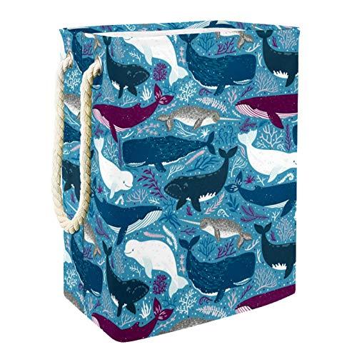 MUOOUM Cesta de la colada del océano del patrón de tiburón azul púrpura, mango de cuero duradero, cesta de almacenamiento plegable impermeable