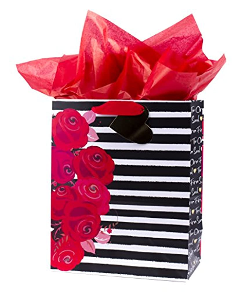 Hallmark Mahogany Large Anniversary or Romantic Birthday Gift Bag with Tissue Paper (Floral & Stripe)