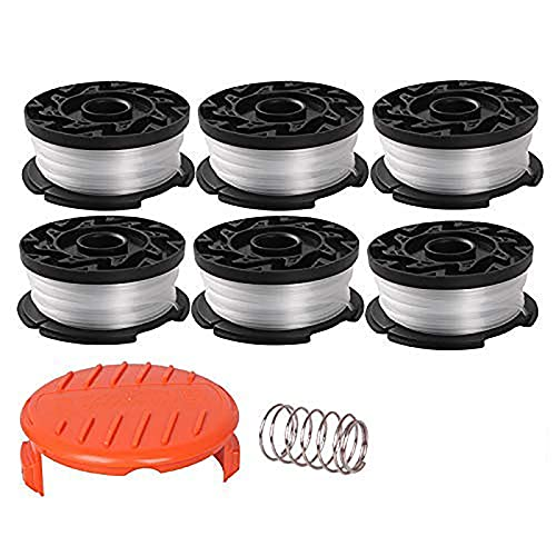 """Thten String Trimmer Spool Replacement for Black and Decker AF-100, 30ft 0.065"""" Refills Line Auto Feed Single Weed Eater,GH600 GH900 Edger with RC-100-P Spool Cap Covers (6 Spools, 1 Cap,1 Spring)"""