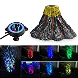NICREW Aquarium Volcano Ornament Kit, Bubbler Decorations for Fish Tank, Aquarium Bubbling with Multi-Color LEDs