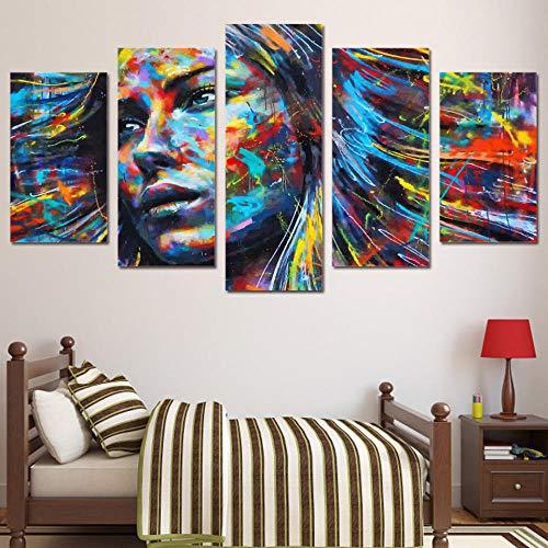 5 tafels muurkunst schilderij groot affiche Hd bedrukte schilderij canvas 5 panelen bont gezicht meisjes fotolijst home decor muurkunst 30x50 30x70 30x80cm zoals getoond