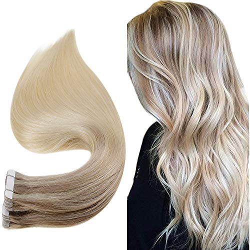 Easyouth Tape Capelli Extension Highlighted 16pollice Colore 18/22/60 Biondo Cenere Fading to Bionda Media Highlighted with Biondo Platino 40g Extensions Real Capelli Tape nella