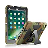 ACEGUARDER iPad 2017/2018 iPad 9.7 inch Case, Shockproof Impact Resistant Protective Case Cover Full Body Rugged for Kids with Kickstand for ipad 5 th/ipad 6 th Generation, Army Black