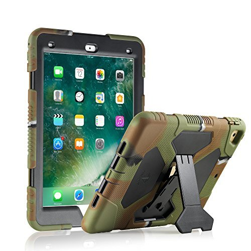 ACEGUARDER iPad 2017 iPad 9.7 inch Case, Shockproof Impact Resistant Protective Case Cover Full Body Rugged for Kids with Kickstand for Apple New iPad 9.7 inch 2017 Tablet, Army Black