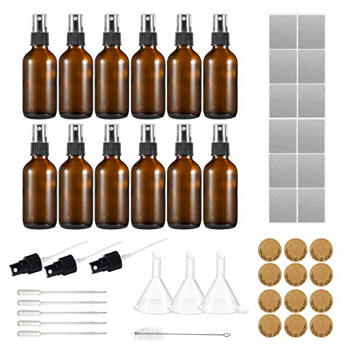 USAMILY 12 Pack 2oz 60 ml Amber Glass Spray Bottles Refillable Containers With 3 Extra Sprayers, 1 Brush, 5 Droppers, 3 Funnels, 12 waterproof Labels for Essential Oils, Perfumes