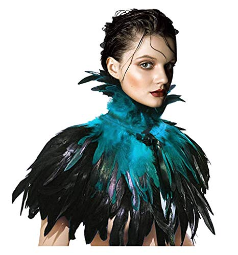 keland Gothic Victorian Natural Feather Shrug Cape Shawl Poncho with Choker Collar (Acid Blue)