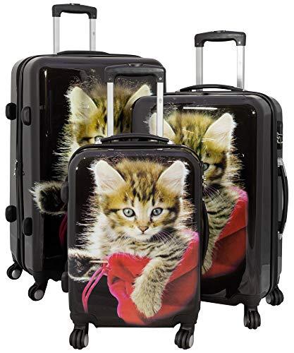 Hartschalenkoffer Reisekoffer Kofferset 3-teilig Katzen Design Schwarz