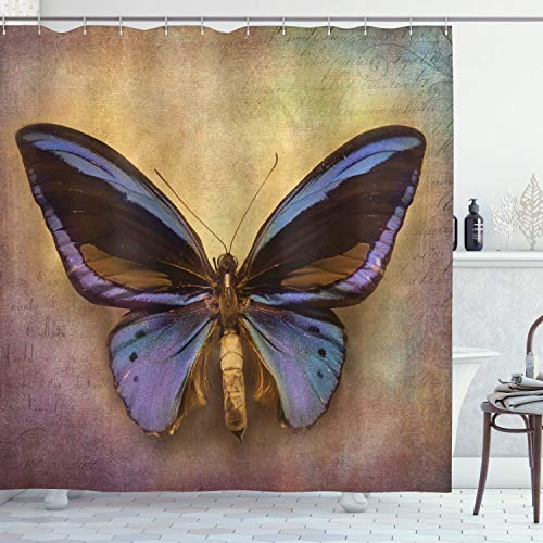 """Ambesonne Butterfly Shower Curtain, Monarch Butterfly Vintage British Grunge Victorian Photography Art Theme Print, Cloth Fabric Bathroom Decor Set with Hooks, 70"""" Long, Purple Brown"""
