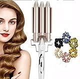 3 Tubo Rizador de varita de hierro de onda, Rizador de pelo, Tenacillas de Pelo, rizador de pelo de cerámica, férula de ondulación permanente grande 3 barril herramientas de peinado de cabello rizado