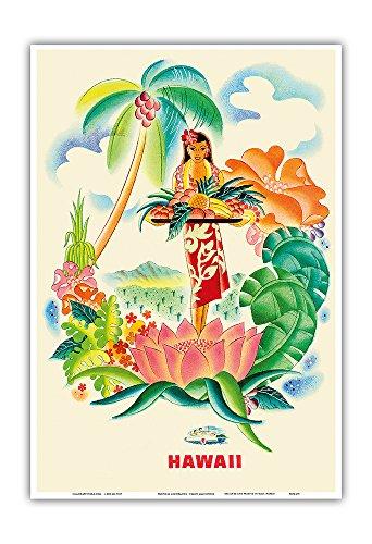 Tropical Abundance - Matson Lines to Hawaii - Vintage World Travel Poster by Frank Macintosh c.1940s - Hawaiian Master Art Print - 13 x 19in
