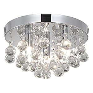 Modern Round Crystal Chandelier Light, 3 Light Small Crystal Flush Mount Ceiling Light, Silver Modern Ceiling Lamp Chandelier Light Fixture for Hallway, Bedroom, Living Room, Dining Room, Kids Room