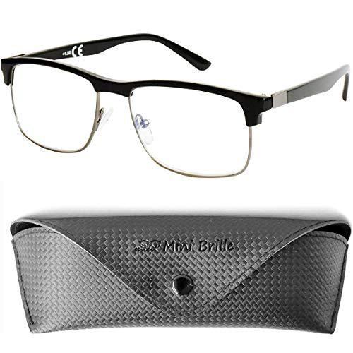Fashion Metall Lesebrille mit rechteckigen Gläsern - mit GRATIS Brillenetui, Edelstahl Rahmen mit Kunststoff Bügeln (Schwarz), Vintage Lesehilfe Herren und Damen +1.0 Dioptrien
