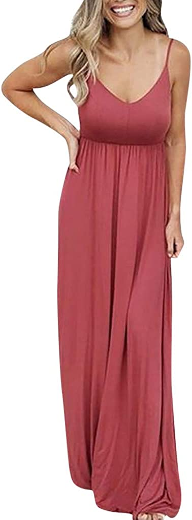 Dresses GirlsWomen Sleeveless Solid Color Maxi Causal Holiday Beach Party Long Dress