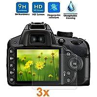 REY 3X Protector de Pantalla para Nikon D3200 - D3300 - D3400, Cristal Vidrio Templado Premium