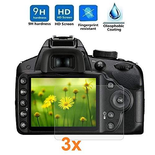 REY 3X Protector de Pantalla para Nikon D3200 - D3300 - D3400 - D3500, Cristal Vidrio Templado Premium